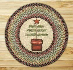 Feather Tree Round Braided Rug