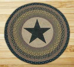 Black Star Round Braided Rug