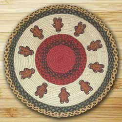 Gingerbread Men Round Braided Rug