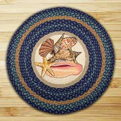 Sea Shells Round Braided Rug
