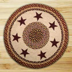Burgundy Stars Round Braided Rug