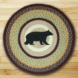 Cabin Bear Round Braided Rug