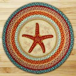 Star Fish Round Braided Rug