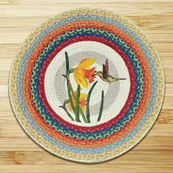 Hummingbird Round Braided Rug