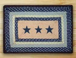 Blue Stars Rectangle Braided Jute Rug