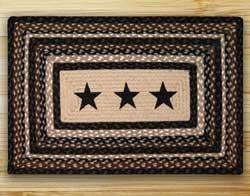 Black Stars Rectangle Braided Jute Rug