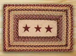 Burgundy Stars Rectangle Braided Jute Rug
