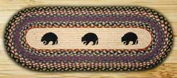 Black Bears Braided Jute Tablerunner - 48 inch