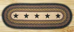 Black Stars Braided Jute Table Runner - 36 inch