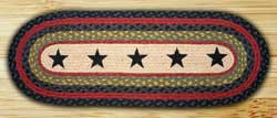 Black Stars Braided Jute Tablerunner - 36 inch