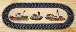 Three Lighthouses Braided Jute Tablerunner - 36 inch