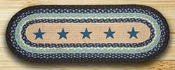 Blue Stars Braided Jute Table Runner - 36 inch