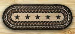 Black Stars Braided Jute Tablerunner - 48 inch