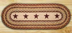 Burgundy Stars Braided Jute Tablerunner - 36 inch