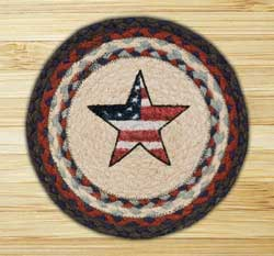 Americana Star Braided Jute Tablemat - Round (10 inch)