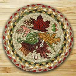 Autumn Leaves Braided Jute Tablemat - Round (10 inch)