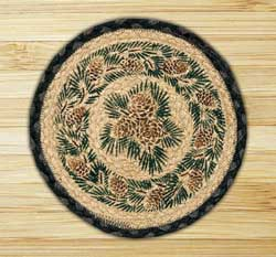 Pinecone Braided Jute Tablemat - Round (10 inch)