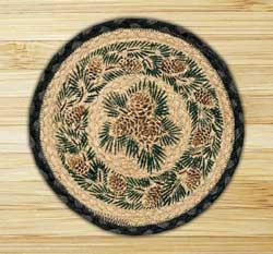 Pinecone Braided Jute Tablemat - Round (10 inch)