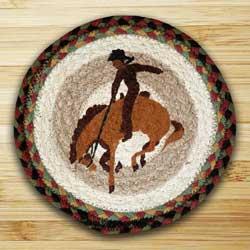 Bucking Bronco Braided Jute Tablemat - Round (10 inch)