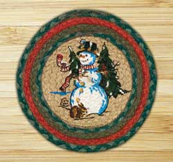 Winter Wonderland Braided Jute Tablemat - Round (10 inch)