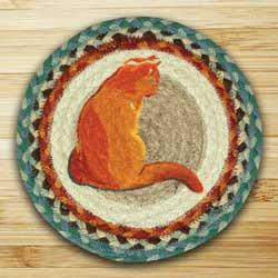 Winter Cat Braided Jute Tablemat - Round (10 inch)