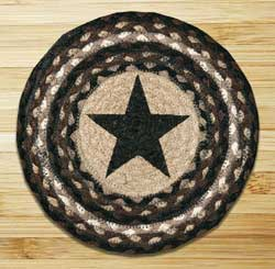 Black Star Braided Jute Tablemat - Round (10 inch)
