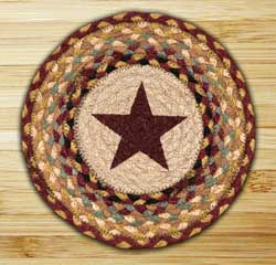 Burgundy Star Braided Jute Tablemat - Round (10 inch)