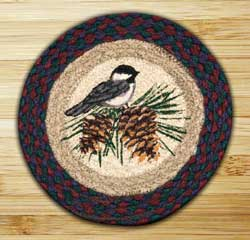 Chickadee Braided Jute Tablemat - Round (10 inch)