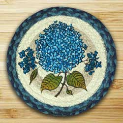Blue Hydrangea Braided Jute Tablemat - Round (10 inch)