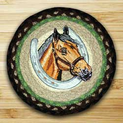 Horse Portrait Braided Jute Tablemat - Round (10 inch)