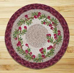 Cranberries Braided Jute Tablemat - Round (10 inch)
