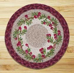 Cranberries Braided Jute Tablemat - Round (10 inch)