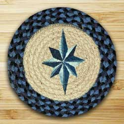 Eight Point Star Braided Jute Tablemat - Round (10 inch)
