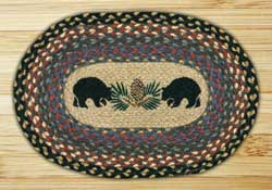 Black Bears Braided Jute Tablemat - Oval