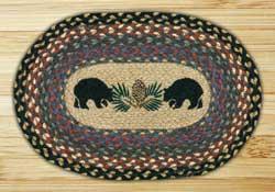 Black Bears Braided Jute Tablemat - Oval