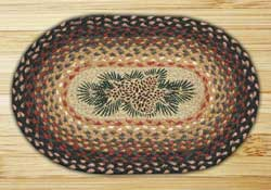 Pinecone Red Berry Braided Jute Tablemat - Oval