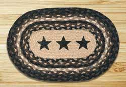 Black Stars Braided Jute Tablemat - Oval
