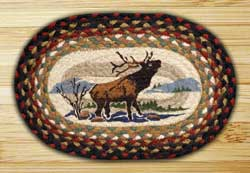 Winter Elk Braided Jute Tablemat - Oval