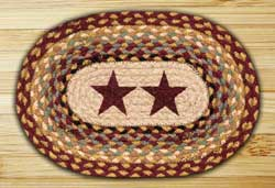 Burgundy Stars Braided Jute Tablemat - Oval