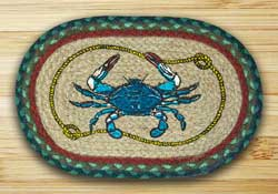 Blue Crab Braided Jute Tablemat - Oval