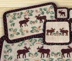 Moose and Pinecone Wicker Weave Coaster