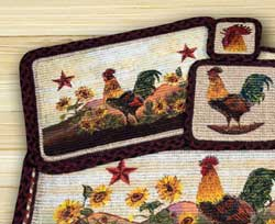 Morning Rooster Wicker Weave Coaster