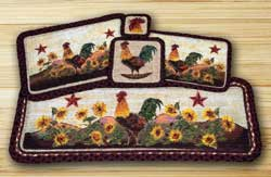 Morning Rooster Wicker Weave Tablemat