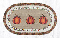 Harvest Pumpkin Braided Jute Rug, Oval - 27 x 45 inch