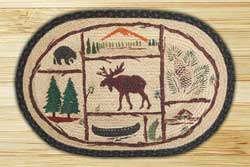 Moose and Canoe Braided Jute Rug