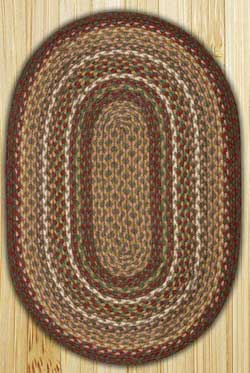 Burgundy and Ivory Braided Jute Rug, Oval - 27 x 45 inch